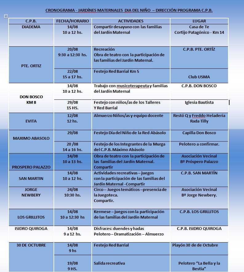 Cronograma d a del ni o secretar a de desarrollo humano for Cronograma jardin infantil 2015
