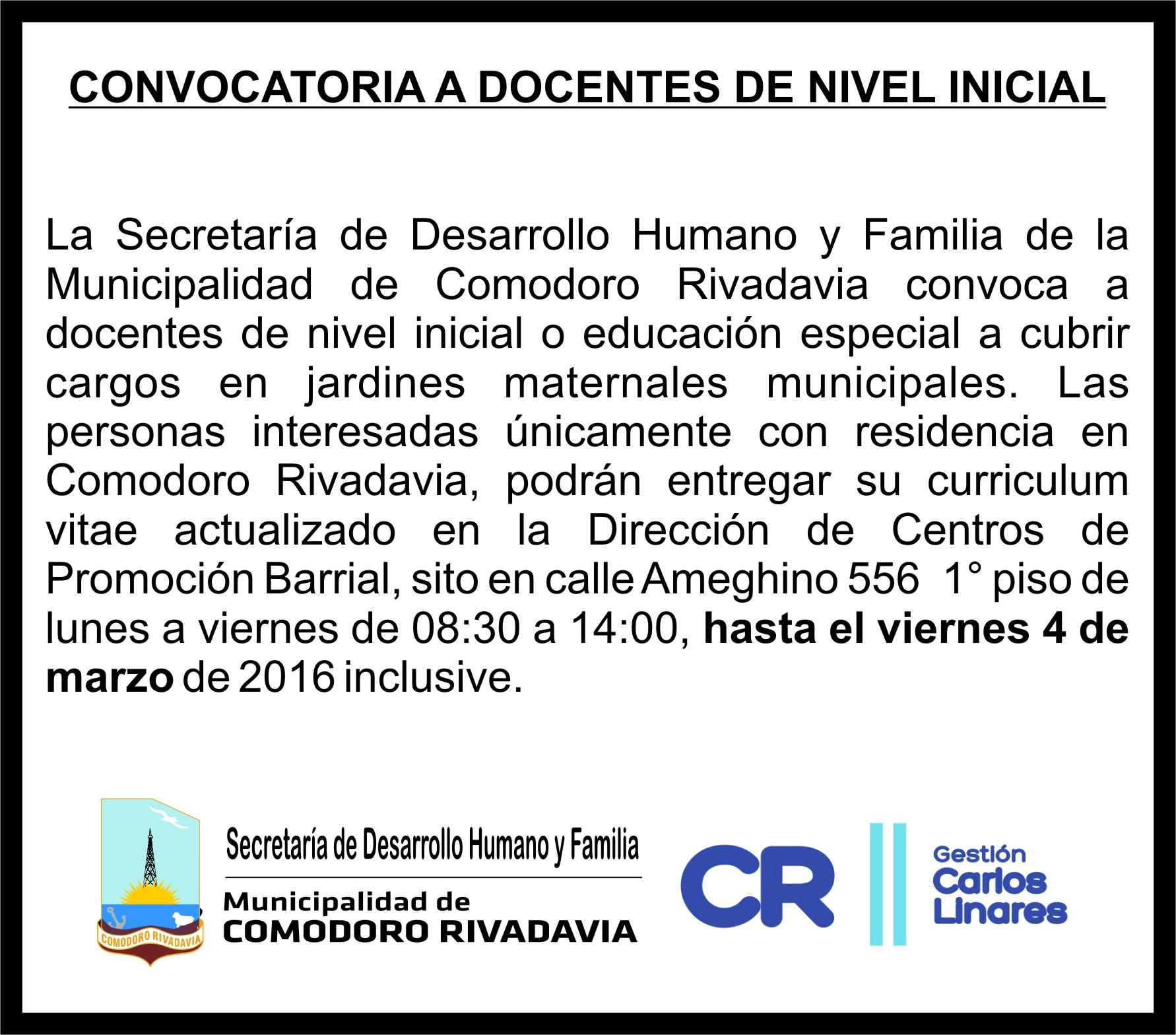 Convocatoria a docentes de nivel inicial secretar a de Convocatoria para las plazas docentes 2016